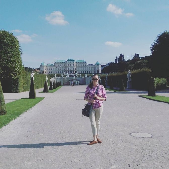 Laura Lynch in front of Belvedere Castle, Vienna.