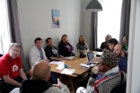 WordPress community building – workshop at Contributors' Workshop Day at #wcvie 2017: Martin Sternsberger (red t-shirt), organiser